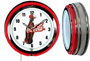 Coca Cola 1930and039s Bottle 19 Double Neon Clock Red Neon Man Cave Garage Store