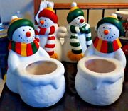 Lot Of 3 Partylite Snowman Candle Holders - Fs Hh