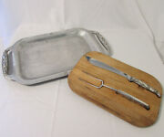 Vtg Bandb Aluminum Tray And Wood Cutting Board And Carving Knife/fork Duck Decoration