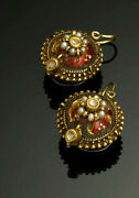 Mughal 22k Gold Studs Earrings With Silver Back, Diamond, Enamel. India 1800's