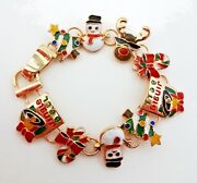Christmas Bracelet Snowman Tree Candy Canes Gold Tone Base Metal 7 Inches