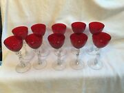 Set Of 10 Cambridge Red Nude Carmen Ruby Cocktail Glass Stems Reduced