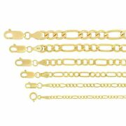 Real 14k Yellow Gold 1.8mm-6.5mm Figaro Link Chain Pendant Necklace 16-30