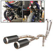 Exhaust System Front Link Pipe Dual Carbon Fiber Muffler For Yamaha Yzf R3 R25