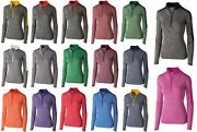 Ladies Snowy Heather Performance Long Sleeve 1/2 Zip Pullover Wicking Xs-3xl