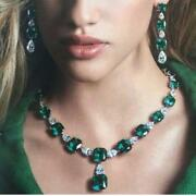 250ct Cushion Cut Simulant Emerald Diamond Necklace Earrings Set Silver Gold Fns