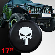 Skull Spare Tire Cover Fit For Jeep Wrangler 17 Size Xl Wheel Tire Cover Black