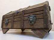 Vintage Wood Treasure Chest Jewelry Box Lions Heads Mexico Red Interior Stunning