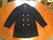 Vintage Kersey Peacoat Wool Navy Coat Gold Buttons Authentic Usn 38l