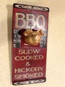 Bbq Slow Cooked And Hickory Smoked Hand Painted Wooden Sign - Barbeque Pig