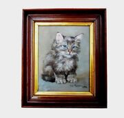 Antique Small French Country Cottage 1906 Kitten Cat Oil Board Painting Portrait