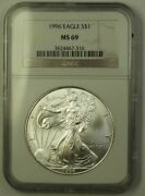 1996 Us American Silver Eagle Ase 1 Coin 1 Ozt Of Pure .999 Ngc Ms-69 Gem Bu