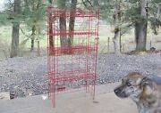 Folding Iron Wire Stand Vintage Industrial Tomand039s Red Candy Display Storage Rack