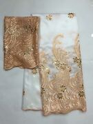 Nigerian George Sequin Fabric Swiss Voile Lace White Evening Party Dress 2 Yards