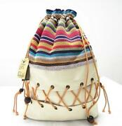Canvas Sack Backpack Lady Cotton Printed Colorful Teenage Straw String Strip Bag