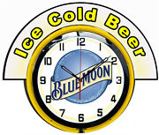 Blue Moon Beer W/ Ice Cold Beer Marquee 19 Yellow Neon Clock Mancave