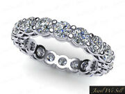 2.7ct Round Diamond Shared Prong Gallery Eternity Ring Band 18k White Gold H Si2