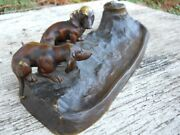 Antique Victorian French Country Dachshund Dog Inkwell Rare Art Nouveau Office
