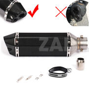 Universal Dual Outlet Scooter Exhaust Muffler Pipe Black Carbon Look 370mm 14.4