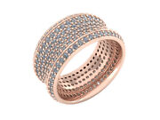3.50 Ct Round Cut Diamond 7row Concave Wedding Eternity Band Ring Solid 14k Gold
