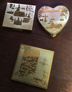 Gold Colored Antique Compacts From New Orleans, Washington, D.c., And Indiana