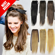 Thick Long Straight Drawstring Ponytail Clip-on Remy Human Hair Extensions