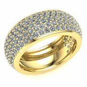 2.4ct Real Round 5row Diamond Pave Ladies Eternity Band With Sizing Bar 14k Gold