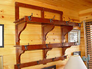 Rare Antique Rustic Country Hall Coat Hat Rack W/ Two Lrg Shelves Very Cool