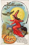 Halloween Postcard Pub By Stecher Series 216c Witch On Broom With Cat, Glittered