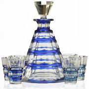 C.1950s-60s Val St. Lambert Blue Overlay Muscadet Crystal Decanter And Glasses Set