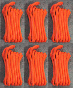 6 Orange Double Braided 1/2 X 15and039 Ft Boat Marine Hq Dock Lines Mooring Ropes