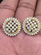 2.18 Cts Round Brilliant Cut Natural Diamonds Stud Earrings In Hallmark 14k Gold
