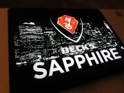 New Becks Sapphire Led Beer Sign Light City View German Import Night Life