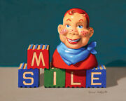 Danforth Smile With Howdy Doody 8x10 Still Life Realistic Oil Painting Retro Fun