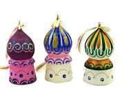Set Of 3 Wooden Russian Christmas Hand Painted Ornaments Church Domes 3 Inch