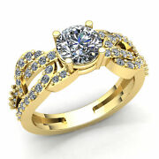 Natural 2ct Round Cut Diamond Ladies Solitaire Proposal Engagement Ring 18k Gold