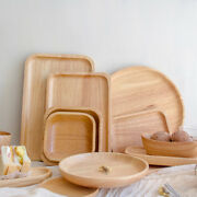 Wooden Serving Tray Round Square Platter Wood Rubberwood Fruit Bowl Cake Pizza