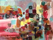 Pita Rubin 1923-1975 Large Oil On Canvas Colorful Abstract Signed