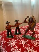 Vintage Painted Metal Cowboy And Barclay Indian Toy Figures