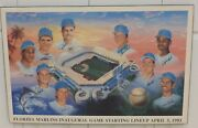 1993 Florida Marlins Inaugural Game Large Signed And Framed Poster