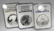 2006 And 2011 Silver Eagle 3 Coin Set Ngc Ms70 Pf70 Pf69 Ag907