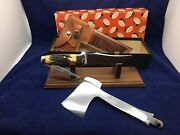 Case's Tested Xx Axe And Knife Combo Set Stag With Leather Sheath Mint Pumpkin Box
