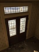Antique Double Entrance Doors With Transom Leaded Glass Windows Vtg 30x87 5-19m