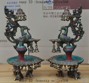 Nepal Bronze Inlay Turquoise Coral Phoenix Bird Candlestick Candle Holders
