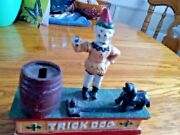 Vintage Die-cast Iron Circus Clown And Trick Dog Replica Mechanical Coin Bank