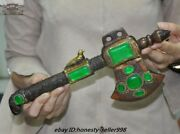 12 Old Chinese Fengshui Bronze Inlay Green Gem Exorcism Hatchet Tomahawk Ax Axe