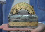 Antiques China Dynasty Palace Hetian White Jade Gilt 24k Gold Seal Stamp Signet