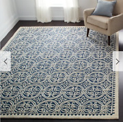 Safavieh Hand Made Navy Ivory Wool Area Rug 8and039 X 10and039 Living Dining Room Carpet
