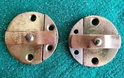 Pair Of Round Antique Solid Brass Cabinet Locks Or Door Keepers 1 5/8 N30