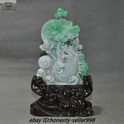 Natural Emerald Green Jade Jadeite Hand-carved Dragon Fish Fengshui Lucky Statue